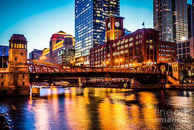 Picture Of Chicago At Night With Clark Street Bridge Poster