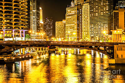 Picture Of Chicago Dearborn Street Bridge At Night Poster by Paul Velgos