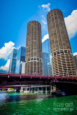 Picture Of Chicago Marina City Corncob Buildings Poster by Paul Velgos