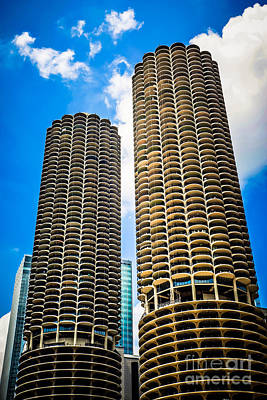 Picture Of Chicago Marina City Towers Poster by Paul Velgos