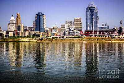 Picture Of Cincinnati Skyline And Ohio River Poster by Paul Velgos
