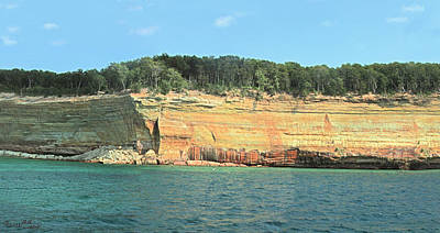 Pictured Rocks Sunlight And Shadows Panorama Poster by Bill Woodstock