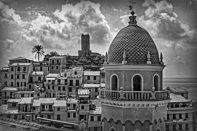 Picturesque Cinque Terre B/w Poster by Hanny Heim