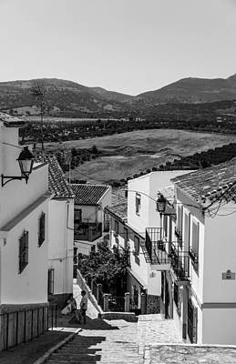 Picturesque Streets Of Ronda. Spain. Black And White Poster by Jenny Rainbow