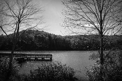 Pier At Table Rock In Black And White Poster