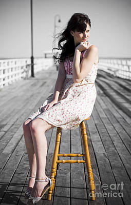 Pier Lady Pondering  Poster by Jorgo Photography - Wall Art Gallery