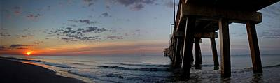 Pier Panorama At Sunrise  Poster by Michael Thomas