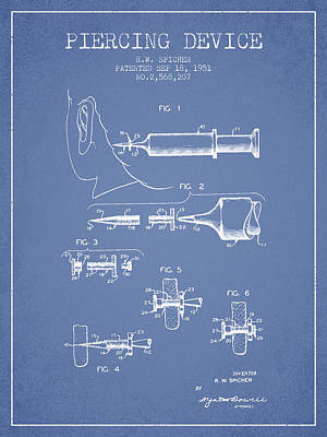 Piercing Device Patent From 1951 - Light Blue Poster