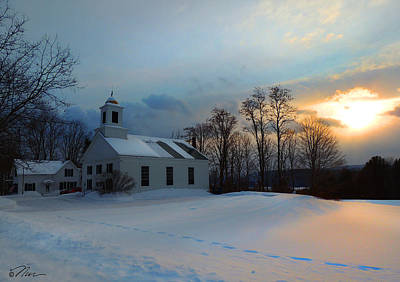 Piermont Church In Winter Light Poster by Nancy Griswold