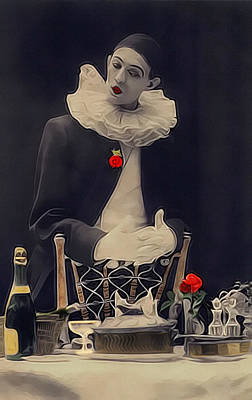 Pierrot Clown Vintage Art The Missing Candle Poster by Lesa Fine