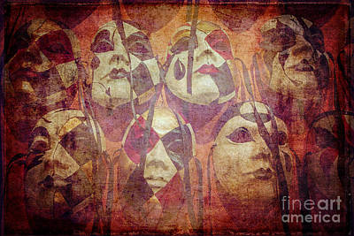 Pierrot Masks Hanging On A Wall Poster by Danilo Piccioni