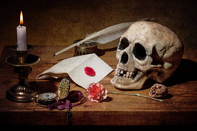Poster featuring the photograph Vanitas With Skull-writting Utensils-watch And Anemone by Levin Rodriguez