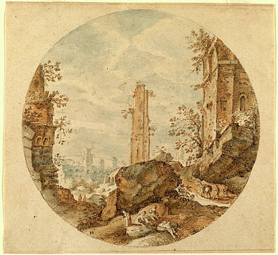Pieter Stevens, Travellers Among Roman Ruins Poster by Quint Lox