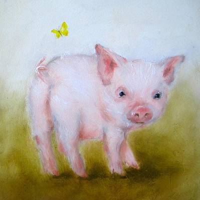Pig And Butterfly Painting Poster by Junko Van Norman