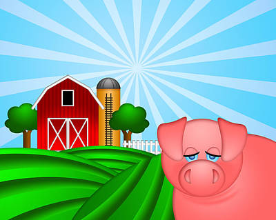 Pig On Green Pasture With Red Barn With Grain Silo  Poster