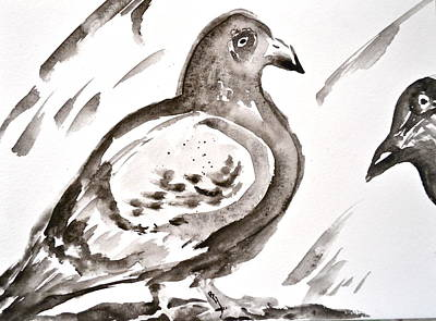Pigeon II Sumi-e Style Poster by Beverley Harper Tinsley