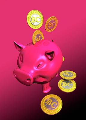 Piggy Bank And Bitcoins Poster by Victor Habbick Visions