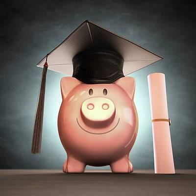 Piggy Bank Wearing Graduation Cap Poster by Ktsdesign