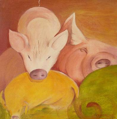 Pigs At Restt Poster by Georgia Annwell