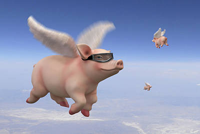 Pigs Fly 1 Poster by Mike McGlothlen
