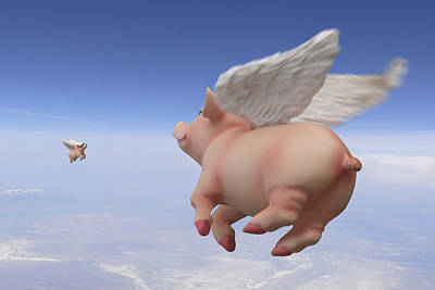 Pigs Fly 2 Poster by Mike McGlothlen