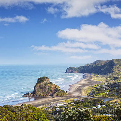 Piha And Lion Rock New Zealand Poster by Colin and Linda McKie