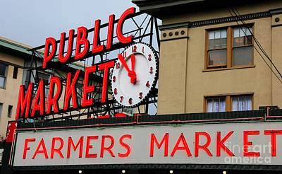 Pike Place Farmers Market Sign Poster