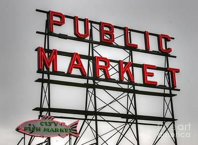 Pike Place Public Market Sign Poster by Tap On Photo