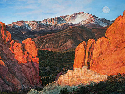 Poster featuring the painting Pikes Peak by Aaron Spong