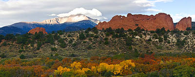 Poster featuring the photograph Pikes Peak Fall Pano by Ronda Kimbrow
