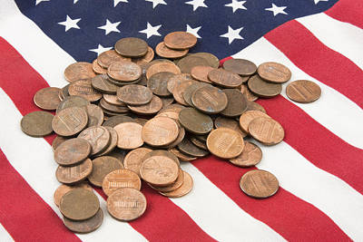 Pile Of Pennies On American Flag Poster by Keith Webber Jr