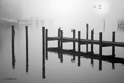 Pilings In The Fog Poster by Brian Wallace