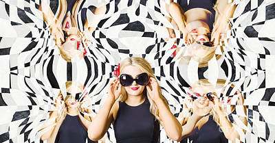 Pin Up Fashion Girl In Hall Of Mirrors Poster by Jorgo Photography - Wall Art Gallery