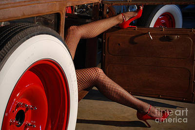 Pin Up Legs In Red Heels  Poster
