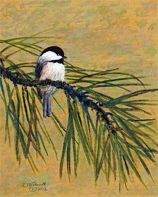 Poster featuring the painting Pine Branch Chickadee Bird 1 by Kathleen McDermott