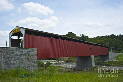 Pine Grove Covered Bridge Poster by Lori Amway