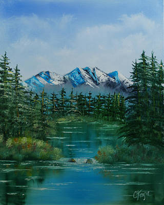 Poster featuring the painting Pine Lake by Chris Fraser