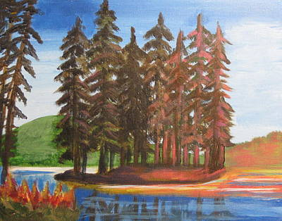 Poster featuring the painting Pine Tree Island by Diana Riukas