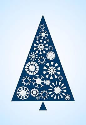 Pine Tree Snowflakes - Blue Poster