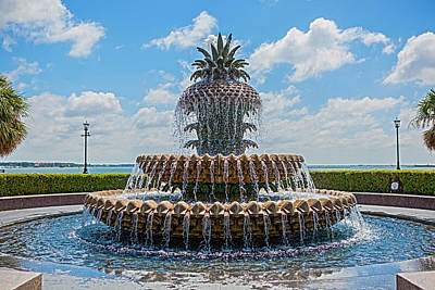 Poster featuring the photograph Pineapple Fountain by Sennie Pierson