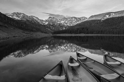 Piney Lake Black And White Poster by Aaron Spong