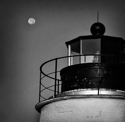Piney Point Lighthouse And Moon In Black And White Poster by Bill Cannon
