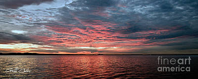 Pink And Grey At Sea - Sunrise Panorama  Poster by Geoff Childs
