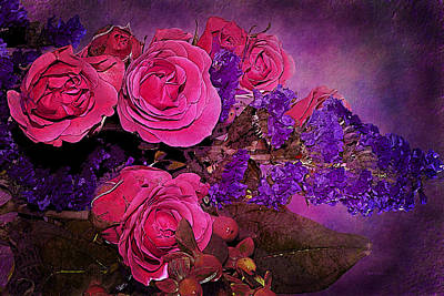 Pink And Purple Floral Bouquet Poster by Phyllis Denton