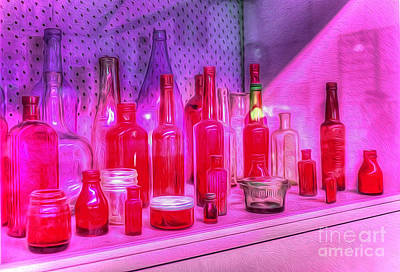 Pink And Red Bottles Poster by Kaye Menner