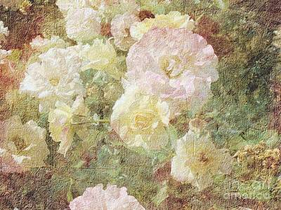 Pink And White Roses With Tapestry Look Poster