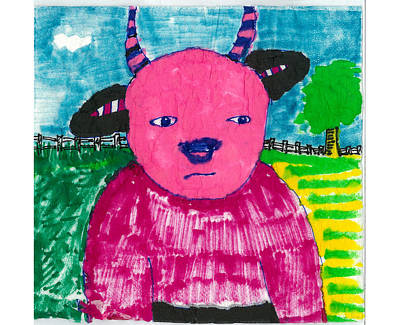 Poster featuring the drawing Pink Baby Bull by Don Koester