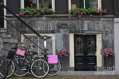 Pink Bikes Of Amsterdam Poster by Mary-Lee Sanders