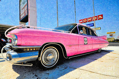 Pink Cadillac Poster by Liane Wright