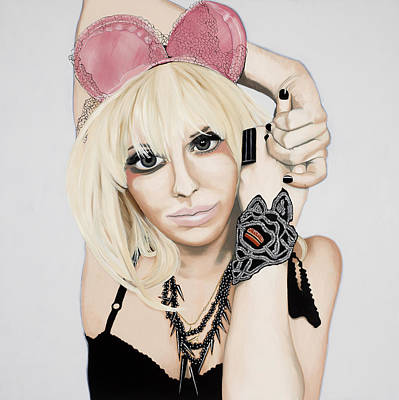 Pink Ears Poster by Marcella Lassen